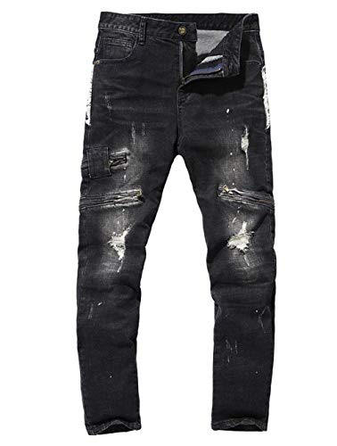 Pantaloni Effetto Distrutti Da Semplice Con In Uomo Usedlook Nero Stile Denim Motociclista Stretch Retrò Lanceyy Jeans Fori 6wTPXX