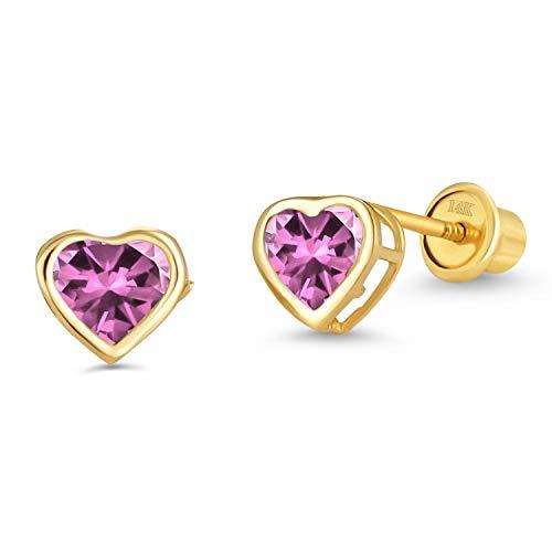 - 14k Yellow Gold Pink Oct Heart Bezel Cubic Zirconia Children Screwback Baby Girls Stud Earrings