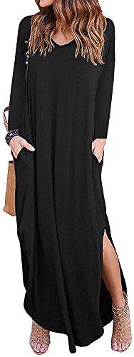LunaJany Women's Boho Long Sleeve V Neck Pockets Side Slit Maxi Tee Dress