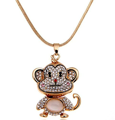 [Epinki Women Stainless Steel Necklace Cubic Zirconia Monkey Animal Statement Necklace Pendant Black] (Ideas For Making A Star Costume)