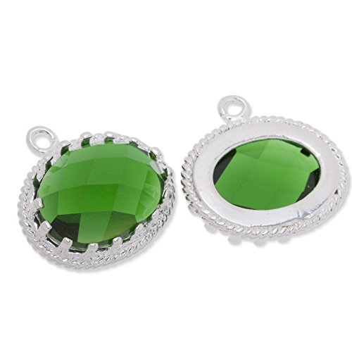 15.5x16.5mm Deep Green Color Faceted Glass Charms Pendant Silver Plated Frame-5pcs/lot