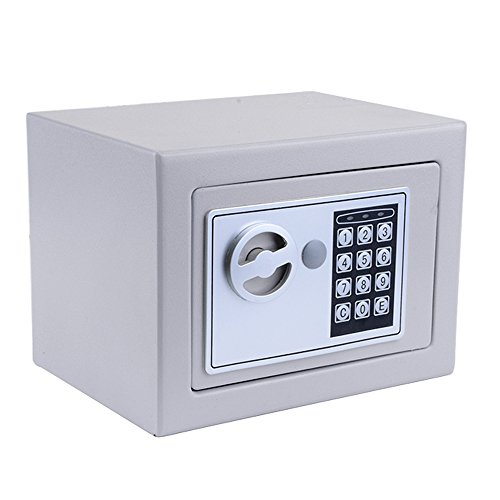 Miageek [US Stock] Security Safes 8.9x6.9x6.3 inches Home Office Hotel Digital Electronic Safe Box Wall Cabinet Hidden Key Lock Safes for Jewelry Cash Gun Document Steel Alloy Drop Safe (Gray)