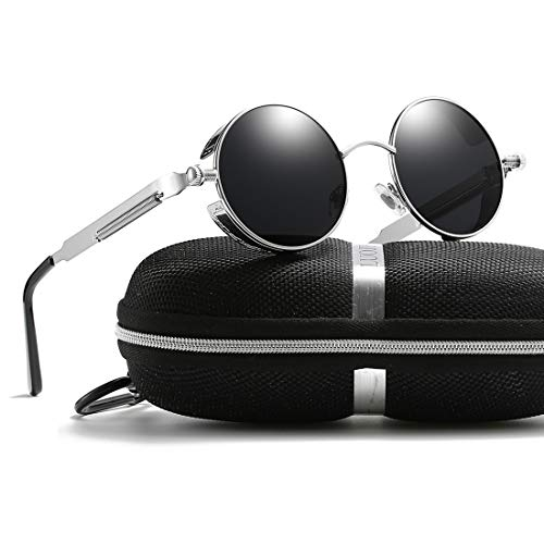 Retro Round Gothic Circle Steampunk Polarized Sunglasses Metal Alloy Polarized Sun glasses for Men Women (Silver Frame Grey Lens, POLARIZED LENS & 100% ()