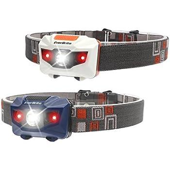 Olive Drab LED Headlamp With Red Light Option Adjustable 3-Stage Flashlight