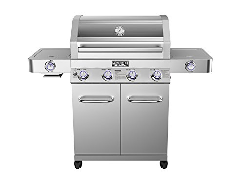 4-Burner Propane Gas Grill,Stainless,ClearView Lid,LED Controls,Side & Sear by Monument Grills