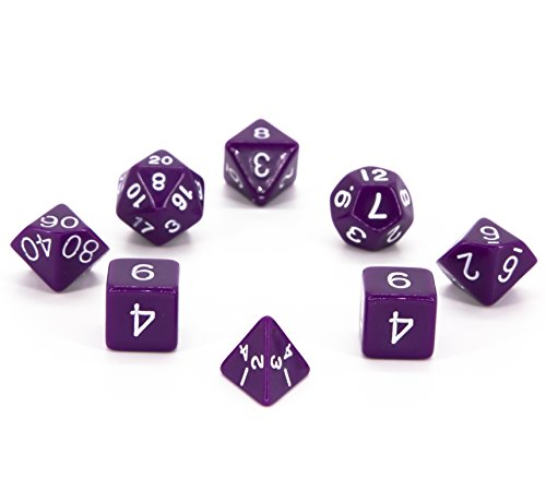 7 + 1 Polyhedral Dice Set - Purple - Opaque - For RPG, Roleplaying Games - D4, D6, D8, D10, D12, D20 Sided Dices with Velvet Bag - By Aras.Games