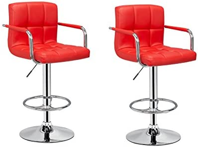 2 x PU Leather Hydraulic Lift Adjustable Counter Bar Stool Dining Chair Red