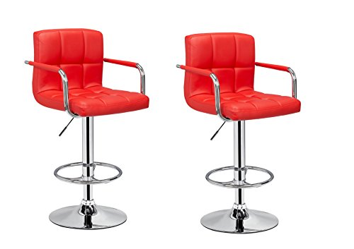2 x PU Leather Hydraulic Lift Adjustable Counter Bar Stool Dining Chair Red -Pack of 2 150-2 Made By Jersey Seating
