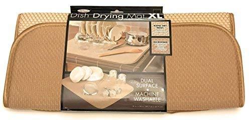 The Original XL Dual Dish Drying Mat - Dual Sided Microfiber Absorbent Machine Washable Multipurpose 18 X 24 (Tan)