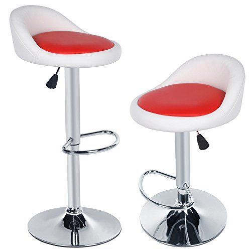 Corgy 2pcs Modern Detachable Synthetic Leather Rotating Adjustable Height Bar Stool Chair,Breakfast Bar Stool for Bar, Counter or Home(US Stock)