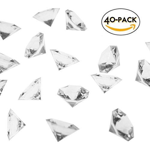 R.FLOWER 36 Carat Clear Acrylic Diamonds, Big Diamonds for Table Scatters, Vase Fillers, Event, Wedding, Party, Birthday Decoration Pirate Treasure, Pack of (Clear Diamond Cut Acrylic)