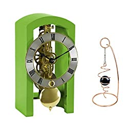 Qwirly 2-Item Bundle: Patterson Skeleton Mechanical Wooden Table Clock by Hermle 23015GR0721 and Desktop Glass Ball Spinner - Room Accessories Gift Set for Boss, Partner or Friend - Green