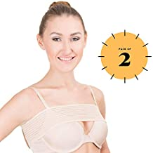 Post Surgical Breast Implant Stabilizer and Compression Band, Breast Support Band, Pack of 2, Adjustable Extra Sport Bra Strap, One Size Fits All