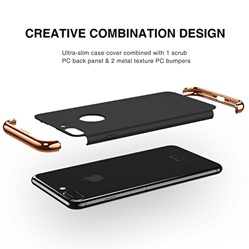 iPhone 7 Plus Case, RANVOO 3 in 1 Anti-Scratch Shockproof Electroplate Frame Ultra Slim Coated Surface Excellent Grip Case for iPhone 7 Plus, Black