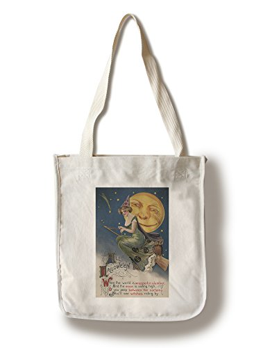 Halloween Greeting - Witch in Flight - Vintage Holiday Art (100% Cotton Tote Bag - Reusable)]()