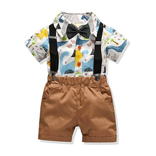 Carlstar Little Boys Gentleman Outfit Suits,Baby Boys Short Pants Set,Short Sleeve Shirt+Suspender Pants+Bow Tie 4Pcs (Dinosaur, -