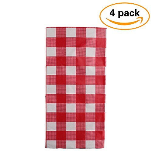 Pack of 4 Plastic Red and White Checkered Tablecloths - 4 Pack - Party Picnic Table (Checkered Table Cover)