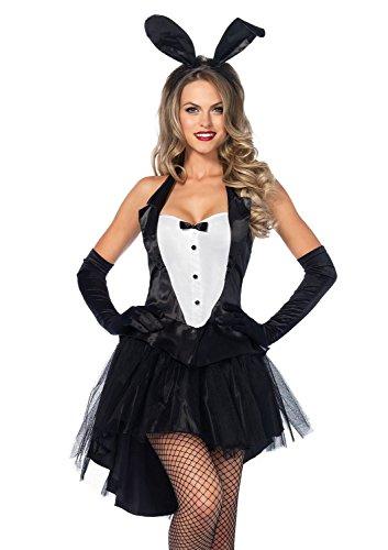 [Fokbas Underwear Women's 3 Piece Tux and Tails Bunny Tuxedo Costume Black/WhiteSmall / Medium Special] (Bunny Dress Tux Tails Adult Costumes)