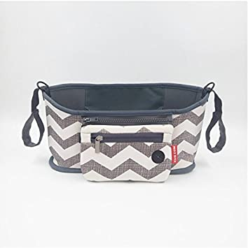 with Shoulder Bag Straps for Mom Travel Large Baby Stroller Organizer with 2 Cup Holders,Waterproof Stroller Bag Separated Tissue Pocket