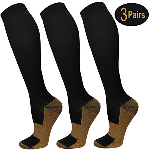 (Copper Compression Socks For Men & Women-3/5 Pairs-Best For Running, Athletic, and)
