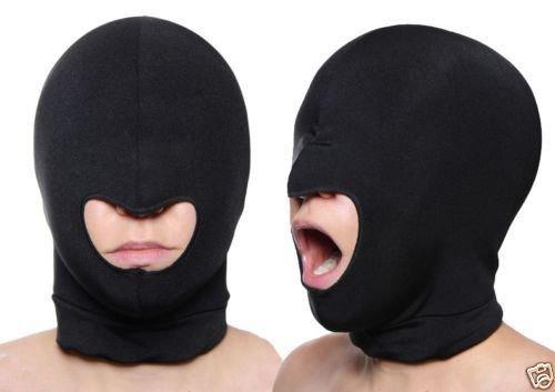 Mens Stock Half Helmet (Blindfold Mask Spandex Blindfold Eye Face Mask Open Mouth Hood Head Cover Opening Balaclava Erotic Mask)