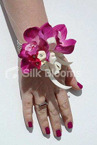 - Fuchsia Pink Cymbidium Orchid Artificial Wedding Wrist Corsage