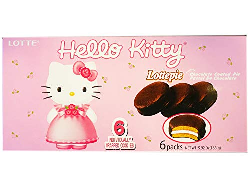 Lotte Hello Kitty Chocolate Pie 5.92 Oz! Flavored Chocolate Coated Pie! Soft Cookies Filled With Fluffy Marshmallow…