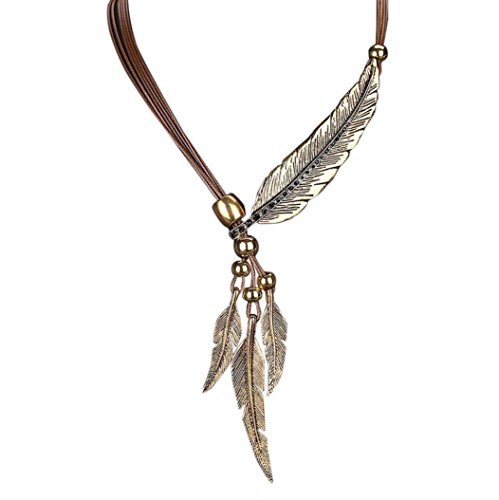 Big Sale 2018! Trendy Leather Alloy Feather Antique Vintage Time Necklace Sweater Chain Pendant Jewelry For Men Womens (Brown, ()