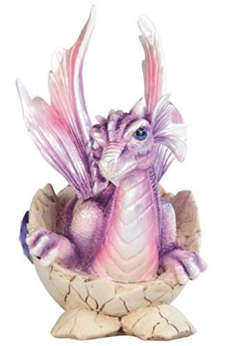 StealStreet SS-G-71468 Purple Baby Dragon in Eggshell with Gem Figurine, 5.5