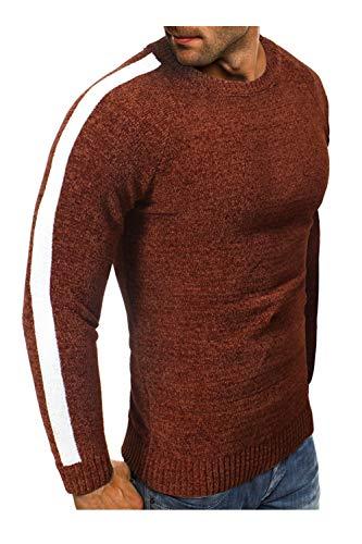 Camello Nimpansa Suéters Manga Para Hombre Casuales Redondo Larga Cuello Suéteres Clásico Invierno FPfF6xwq1B