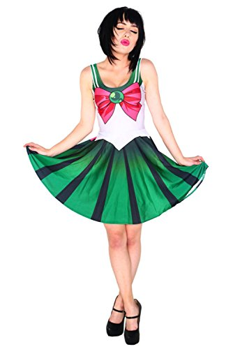 [Aoibox Women's Sailor Moon Anime Cosplay Costume One Piece Skater Dress] (Sailor Saturn Costume)