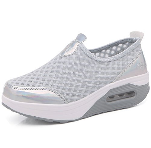 Women's Grey Size US4 Orlancy Wedge On Sports Sneakers Shoes 3 Fitness Lightweight 11 Walking Mesh Slip fqwAx4dq