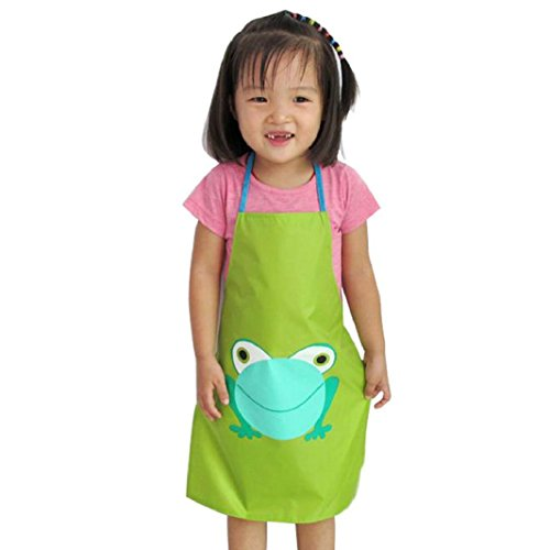 [Iuhan 1PC Kids Children Waterproof Frog Print Apron Paint Eat Drink Outerwear (Green)] (1950s Geek Costume)