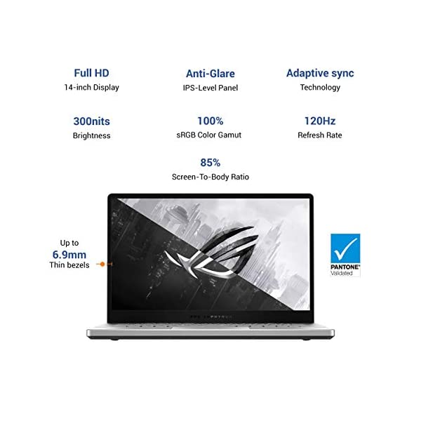 "ASUS ROG Zephyrus G14, 14"" FHD 120Hz, Ryzen 5 4600HS, GTX 1650Ti 4GB GDDR6 Graphics, Gaming Laptop (8GB/512GB SSD/MS Office 2019/Windows 10/Moonlight White/Anime Matrix/1.7 Kg), GA401II-HE127TS -  - Laptops4Review"