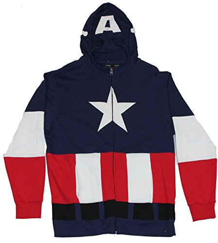 [Captain America Mens Hoodie Sweatshirt - First Avenger Embrodiered Costume (XX-Large) Blue] (Captain America Avengers Costume Material)