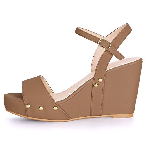 Slingback Sandals Platform Wedge K Ankle Strap Allegra Brown Heel Women's PqwgfWnH