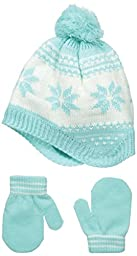 Carters Baby-Girls Fair Isle Peruvian Hat Mitten Set, Mint, 0-9 Months