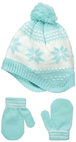 Carters Baby-Girls Fair Isle Peruvian Hat Mitten Set, Mint, 0-9 Months