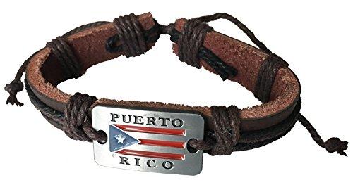 HGS Puerto Rico Style Leather Wristband Bracelet Boricua Pride Design (Rico Wristband)