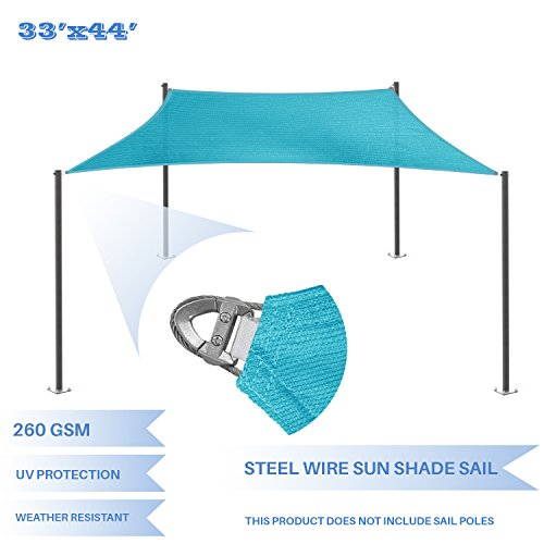 E&K Sunrise Reinforcement Large Sun Shade Sail 33' x 44' Rectangle Heavy Duty Strengthen Durable Outdoor Garden Canopy UV Block Fabric (260GSM)- 7 Year Warranty - Turquoise Green ()