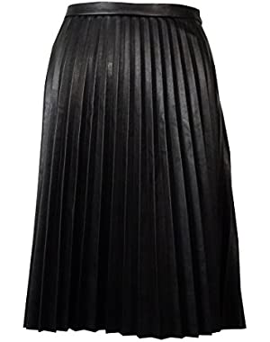 Calvin Klein Women's Pleated Faux Leather Skirt