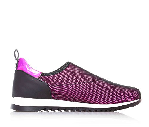 CULT - Chaussure de sport fuchsia et noire, en tissue et cuir, insert en métal à l'arrière, fille, filles, enfant, femme