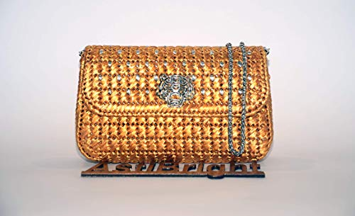 (Gold evening clutch, Bridal clutch, Elegant purse, Raffia handbag, Mother of bride handbag, Plastic canvas handmade bag, Vintage style purse)