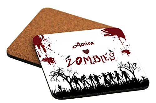 Rikki Knight Amira Loves Zombies on Red Grunge Personalized with Name Design Cork Backed Hard Square Beer Coasters, 4-Inch, Brown, 2-Pack -