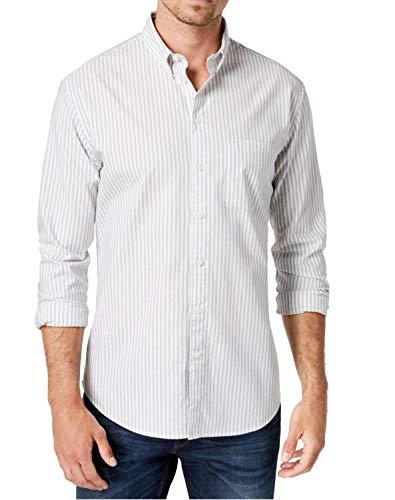 DKNY Mens Large Bar Striped One Pocket Dress Shirt White L