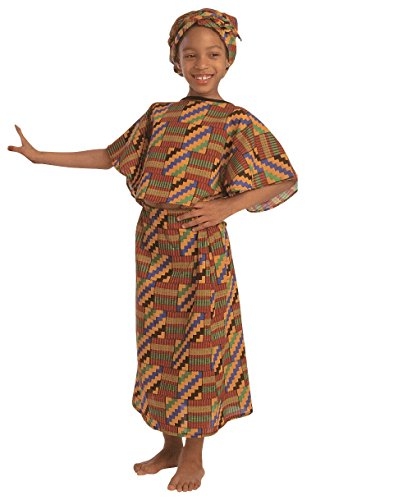 Children's Factory Multi-Ethnic Costume, African Origin, Dress and Scarf
