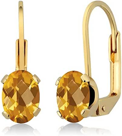 1.40 Ct Oval Checkerboard Yellow Citrine Gold Plated 4-prong Leverback Earrings
