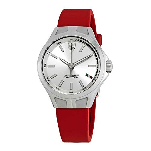 Ferrari Donna Silver Dial Red Silicone Ladies Watch 820008
