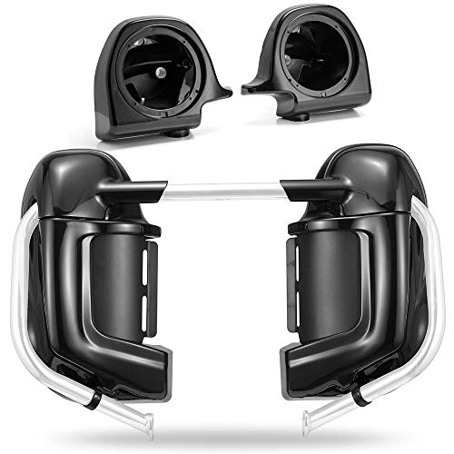US STOCK! Advanblack Vivid/Glossy Black Lower Vented Fairings 6.5 Speaker Pods Fit for 1983-2016 Harley Touring Street Glide Electra Glide Road King ()
