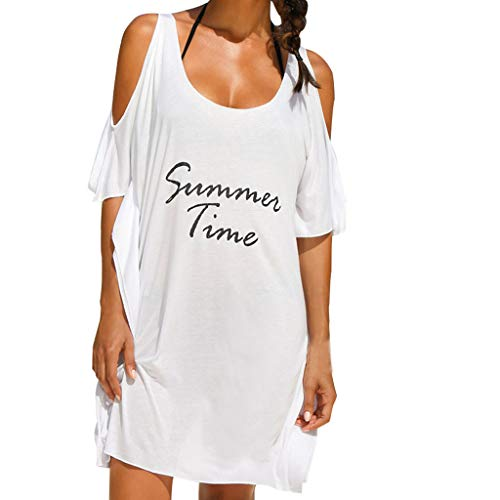 HTDBKDBK Summer Dresses for Women, Solid Color Casual Off Shoulder Summer Letters Printed Robe Femme Dress Beach Dress White